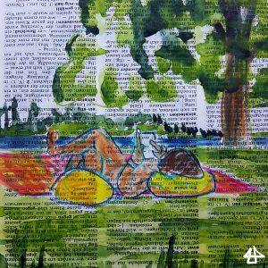 Aquarell auf Wörterbuchseite: Person liegt auf einer roten Decke auf einem Grashügel vor einem See und liest.
