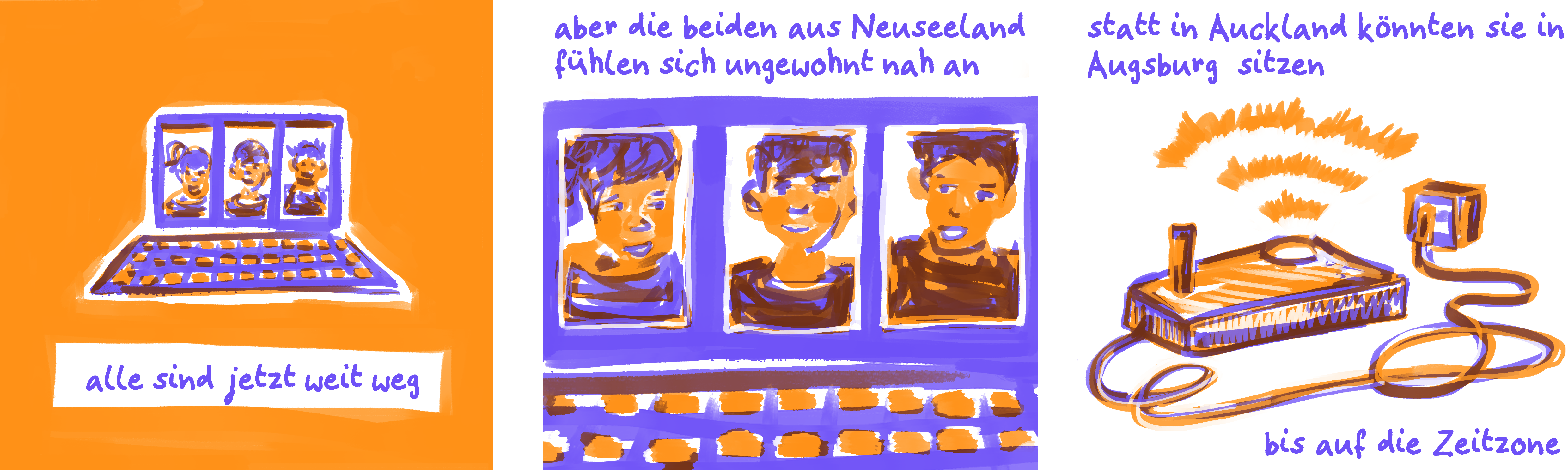 Extract of a blue and organe comic
