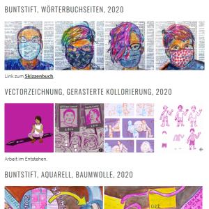 Screenshot der Portfolioseite mit Zeichnungen von Menschen mit Masken und Arbeitsschritte für online Comic.