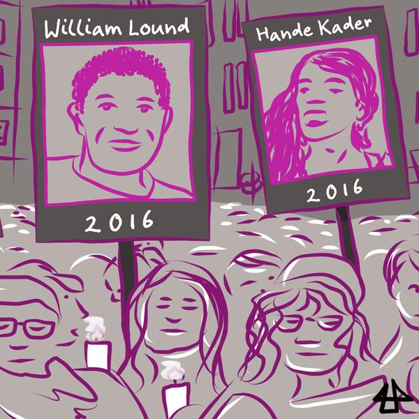 Digitaler Comic: in Grau und Magentatönen, trauernde Menschen mit Kerzen und Postern, darauf William Lound und Hande Kader, die 2016 ermordet wurden.