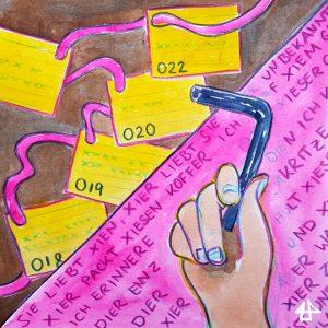 Aquarellbild, eine Hand hält einen Inbusschlüssel, im Hintergrund gelbe Karteikarten an einem roten Faden.