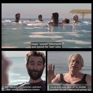 """Screenshots aus Transparent mit Untertiteln: Fünf Erwachsende treiben im toten Meer und unterhalten sich. Der Bärtige fährt fort: """"…wegen xiesem Geschlecht, was typisch für xien wäre. Xier hat sich kein bisschen verändert, was typisch für xien wäre."""" Die Ältere mit nassen, langen grauen Haaren erwidert: """" Es ist nicht cool, dass wir so darüber sprechen. Ich habe schon zu viel gesagt."""""""