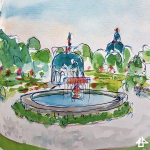 Finelinerzeichnung mit Aquarell: Springbrunnen mit Dianatempel dahinter.