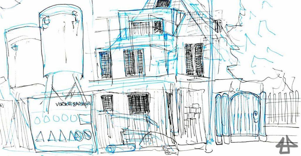 Finelinerzeichnung einer Einzelhausbaustelle mit Gerüsten, Betonsilo und Gartentor in blau und schwarz.