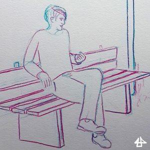 Buntstiftzeichnung in türkis-magenta: Mensch mit kurzen Haaren sitzt nachdenklich auf Parkbank.