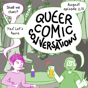 Comic image teaser for the August Episode 2/6, Sam and Anna sit in bar sipping drinks and discussing labels.