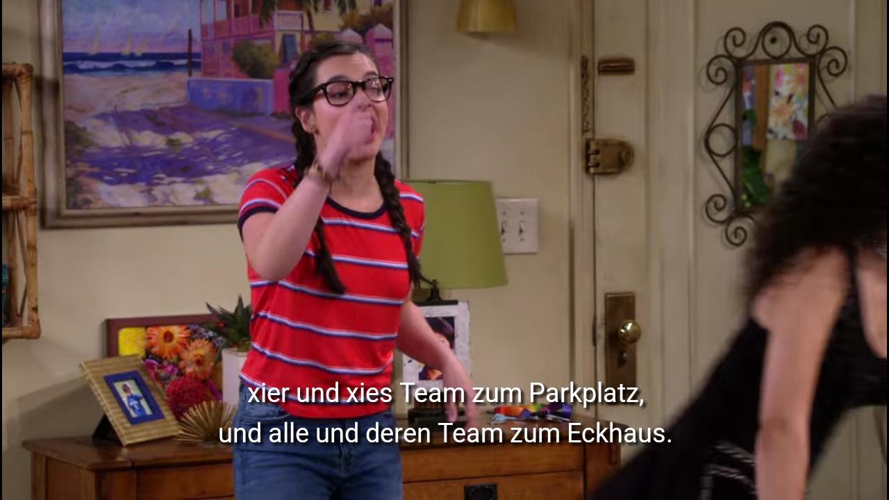 Elena fährt fort: xier und xies Team zum Parkplatz und alle und deren Team zum Eckhaus.