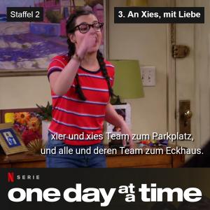 Screenshot mit Untertiteln: Hauptcharacter der Serie Elena sagt: xier und xies Team zum Parkplatz und alle und deren Team zum Eckhaus.