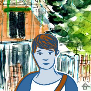 Digital gezeichnete traurige Person mit kurzen braunen Haaren, im Hintergrund ein Baustelle an einem Einfamilienhaus mit Fineliner und Aquarell.