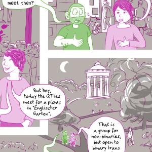 Auszug aus dem Comic: die zwei Avatare der AutorInnen laufen durch München und reden über trans Räume.