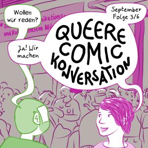 Teaser für die September Episode vonQueer Comic Conversations: Sam und Anna stehen in München vor dem Schwulen Zentrum Sub.
