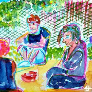 Aquarellbild, drei Menschen unterhalren sich, grelle Farben