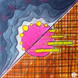Aquarell-Buntstift Illustration: Auf dem Umfang eines pinken Kreises befinden sich links oben viele kleine gelbe Kreise und rechts unten einige gelbe Balken. Im Hintergrund links oben ein blaues Wellenmuster und rechts unten ein braunes Karomuster.