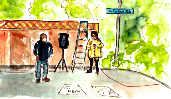 Watercolor Sketch, two people with microphone and amplifier are in front of a wooden wall at the end of Von-Erkert-Platz