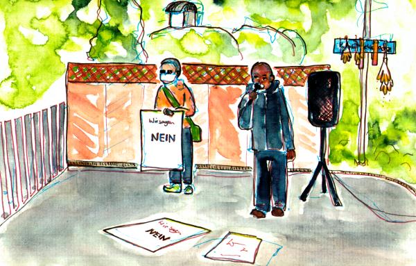 Aquarellierte Zeichnung, ein weiterer Aktivist spricht, ein anderern hält ein Plakat mit den Worten: Wir sagen Nein.
