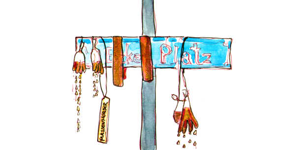 Watercolor Sketch, at a blue street sign art is installed: hanging disposable gloves filled with red liquid that drips from it, red ribbons, a yellow sign saying
