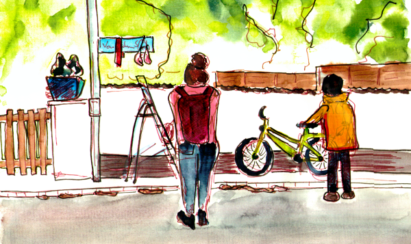 Watercolor Sketch, two people are standing in front of a street sign in a residential area, there is the art installation and a ladder still standing.
