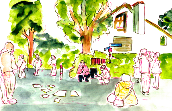 Watercolor Sketch, a city councilor speaks at a street corner in front of a residential building. People listening stand around him in wide circles. They are roughly sketched