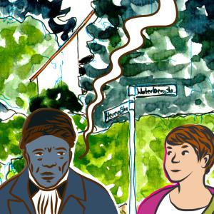 Koloriertes Comic, zwei Charaktere stehen an einer Straßenkreuzung, Herero Ecke Waterbergstraße. Einer in gedämpften blau-braun Tönen und einer in Pink und Beige. Vom ersteren geht eine ungefüllte Sprechblase aus.