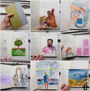 Eine Collage von 8 Zeichnungen aus dem Skizzenbuch selber und 1 vom grün-blau gemusterten Einband des Buches.
