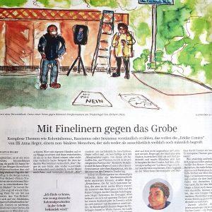 Ausschnitt des gedruckten Zeitungsartikel mit der Überschrift Mit Finelinern gegen das Grobe, darüber ist eine Aquarellzeichnung von der Aktion DECOLONIZE München abgebildet. Weiter unten ein kleines Selbstporträt von Illi Anna Heger.