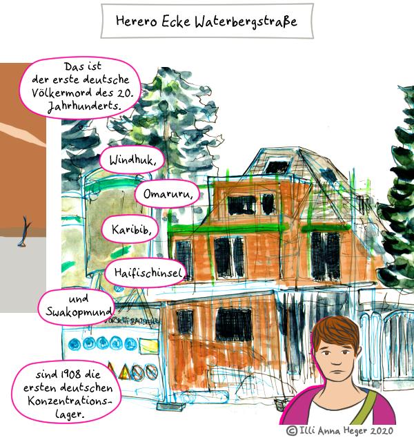 Ausschnitt vom Comic Herero Ecke Waterbergstraße, das ganze Comic wird im folgenden in reinen Text transkribiert