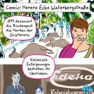 Ausschnitt aus dem Comic: Vorstadtstraße mit toten Rindern, davor ein Mensch, der die Hand vor den Mund schlägt, darunter eine alte Photographie eines Edeka Geschäftes.