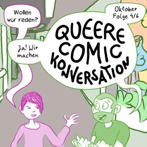 Ankündigungsbild für die Oktober Episode von Queer Comic Conversations: Sam und Anna in einem Krankenhausflur in Neuseeland.