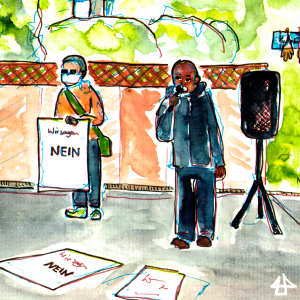 Watercolor Sketch, one activist with a microphone, the ohter holds a poster saying in German: We are saying no.