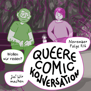 Teaser for the november episode of Queer Comic Conversations: Sam and Illi sit sadly and quietly on a bench in the dark