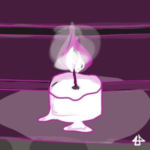 Digitale Zeichnung in magenta Tönen: Eine Kerze brennt langsam runter.