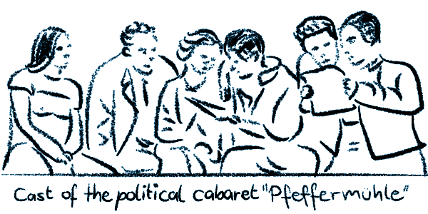Sketch of the cast of the political cabaret >Pfeffermühle<.