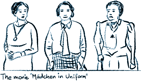 Sketch of the author Christa Winsloe in the middle, on the right Erika Mann in her role of a German teacher, left Therese Giehse as the Reverend Mother.