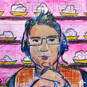 Aquarellierte Buntstiftzeichnung: Mensch mit kurzen hochgegelten Haaren, Kopfhörern, und vor dem Kinn zusammengehaltenen Händen. Im pinken Hintergrund Regale mit gelben Tellern mit weissen Haufen.