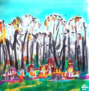 Kollorierte Füllerzeichnung, der Spielplatz leuchtet in bunten Farben, davor grüner Rassen mit sonnenbeschienenen Bereichen, dahinter hohe dunkle Bäume unter blauem Himmel.