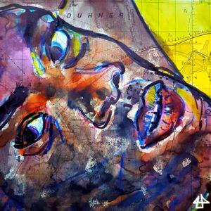 Zeichnung mit Buntstifte, Aquarellfarbe und Marker, vielfarbig auf alter Seekarte. Ausschnitt des Gesichtes eines liegenden schwarzen Mannes. Er schaut vertrauensvoll mit leicht geöffnetten Lippen zur Seite.