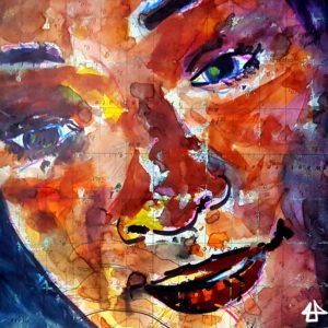 Zeichnung mit Buntstifte, Aquarellfarbe und Marker, vielfarbig auf alter Seekarte. Ausschnitt des Gesichtes einer schwarzen Frau. Sie schaut liebevoll mit leichtem geöffneten Lippen nach unten.