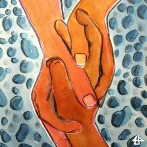 Aquarellierte Buntstiftzeichnung: zwei Hände eines Menschen halten die Hand eines zweiten Menschen. Darunter blaugraue Kiesel.
