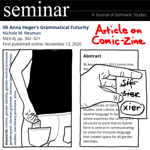 Combination of my illustration and text from the article: Illi Anna Heger's Grammatical Futurity by Nichole M. Neuman in Seminar: A Journal of Germanic Studies, 56(3-4), 302-321, 2020. Under red handwritten letters: Article on Comic-Zine, the drawing of a hand retrieving a piece of paper from the back-pocket of their pants. Then the same hand with a piece of paper, the words sif and sier are crossed out, xier is circled. Behind the abstract and keywords of the paper are inserted, see at following link: www.utpjournals.press/doi/abs/10.3138/seminar.56.3-4.05