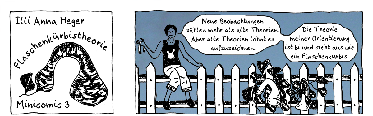 Minicomic 3 Flaschenkürbistheorie, das ganze Comic wird im folgenden in reinen Text transkribiert
