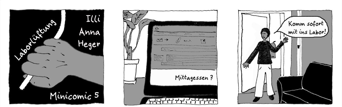 Minicomic 5: Laborlüftung, das ganze Comic wird im folgenden in reinen Text transkribiert