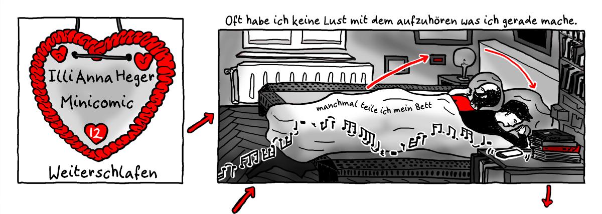 Minicomic Weiterschlafen, das ganze Comic wird im folgenden in reinen Text transkribiert