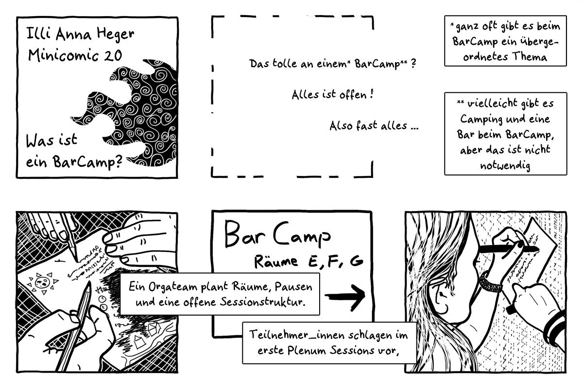 MiniComic 20 Was ist ein BarCamp?, das ganze Comic wird im folgenden in reinen Text transkribiert