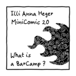 Link to minicomic 20, called Barcamp, illustrated with the flame symbol of Barcamps, decorated with spirals.