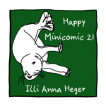 Link to minicomic 21, called Happy, illustrated with an otter swimming downwards with a green background.