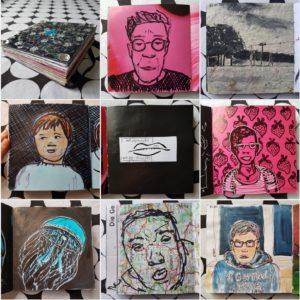Collage aus 9 Fotos des Skizzenbuches: Buchdeckel mit aufgedruckten Pailletten, 5 verschiedene Portraits, eine Landschaft mit Strommasten und eine blaue Qualle.