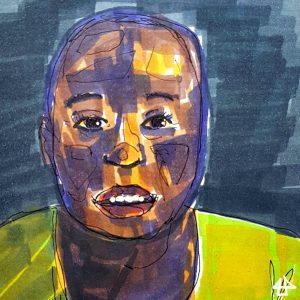 Filzstiftzeichnung einer schwarzenFrau mit ruhigem Blick und grünem Shirt. Das Gesicht ist mit vielen überlagerten Farben moduliert: Gelb- Lila- und Brauntöne.