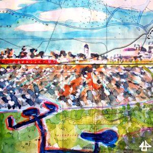 Aquarellierte Buntstiftzeichnung auf nautischer Karte, Eine S-Bahn fährt am Horizont an Bäumen und Häusern vorbei. Davor ein Brachliegendes Feld mit Schneeflecken. Im Vordergrund der Lenker meines Fahrrades