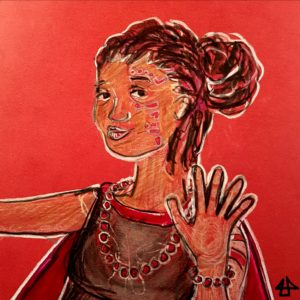 Color pencil and watercolor sketch on red paper. Young woman with locs in a bun and tribal tattooes on her arm and face. She wears a necklace and bracelet from cherry sized red beads, a grey shirt and a red cape.