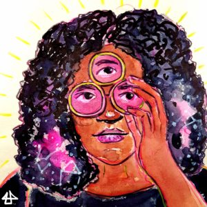 Color Pencil and water color sketch. Nimisha with a shoulder length center parted afro touches glases with one hand. The glasses have three single round glasses one for each of the three eyes.